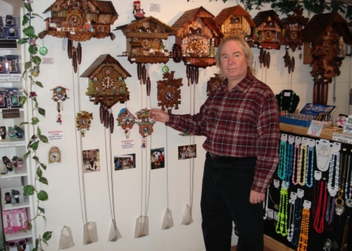 Werner demonstrating the cuckoo clocks 6 - Photos of Polperro