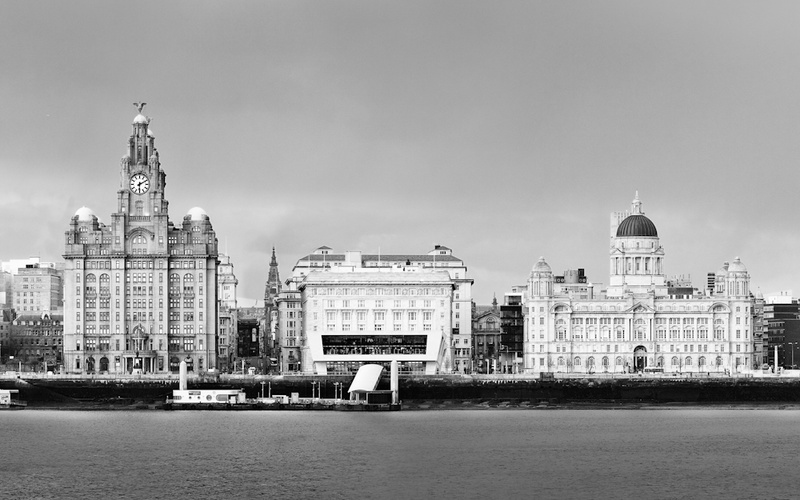 LIVERPOOL PIER HEAD FROM WIRRAL BLACK AND WHITE - Liverpool