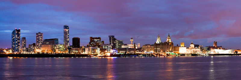 LIVERPOOL SKYLINE CLOUDS AT NIGHT FROM SEACOMBE - Colour