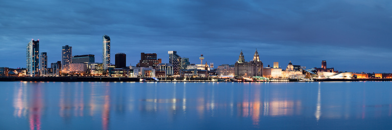 LIVERPOOL SKYLINE REFLECTIONS FROM SEACOMBE - Colour