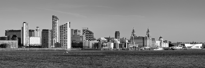 Liverpool skyline from egremont black and white liverpool