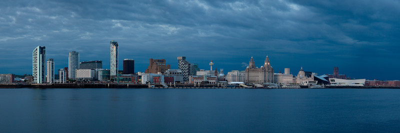 LIVERPOOL SKYLINE AT TWILIGHT FROM SEACOMBE - Liverpool
