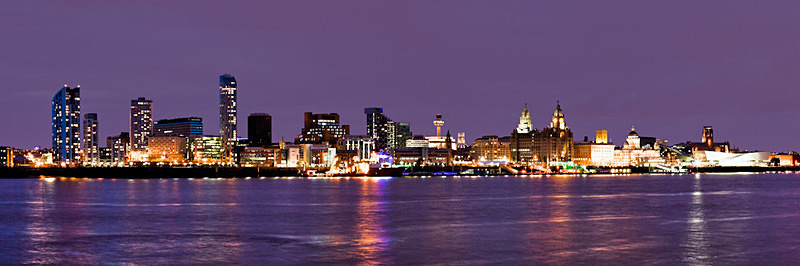 LIVERPOOL PURPLE SKYLINE AT NIGHT FROM SEACOMBE - Colour