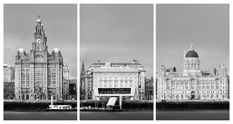 LIVERPOOL PIER HEAD FROM WIRRAL B&W TRIPTYCH - Liverpool