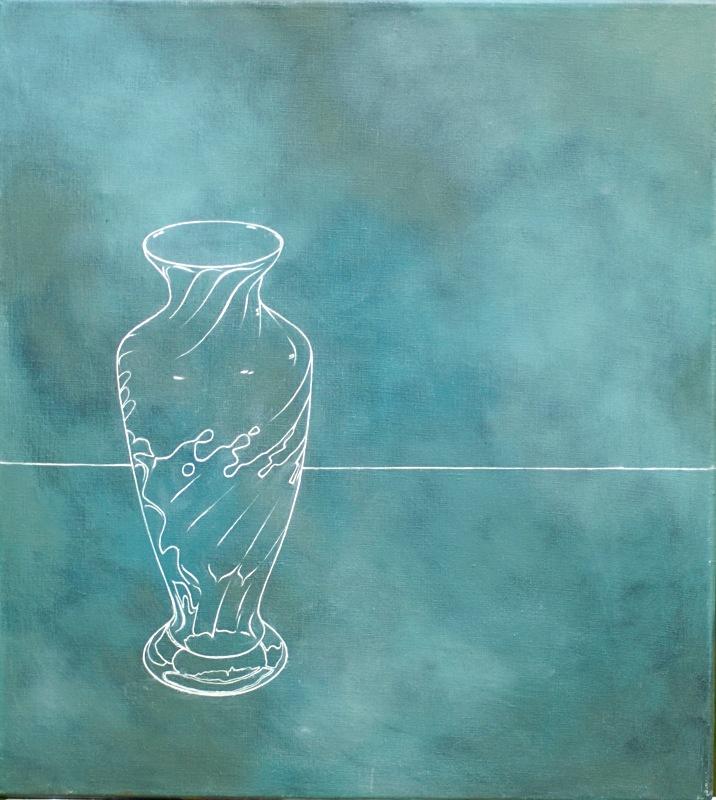 Vase Oil 18in x18in - Flower Paintings
