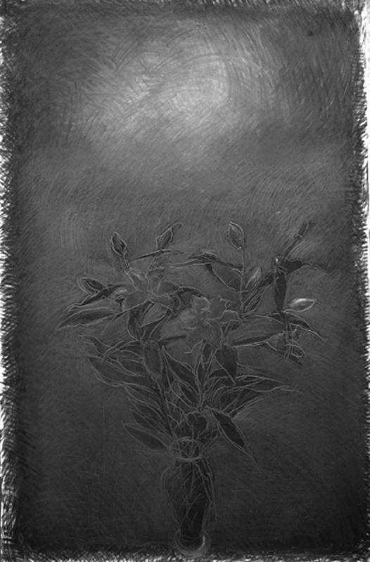 Mixed Media 36in x 60 in - Flower Drawings