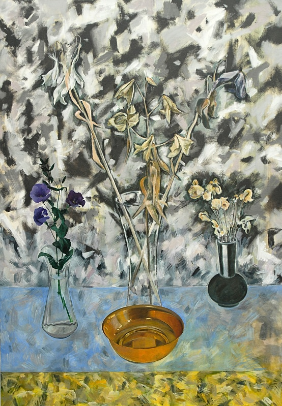 Three Vases and Bowl   Oil  42in x 60in - Flower Paintings