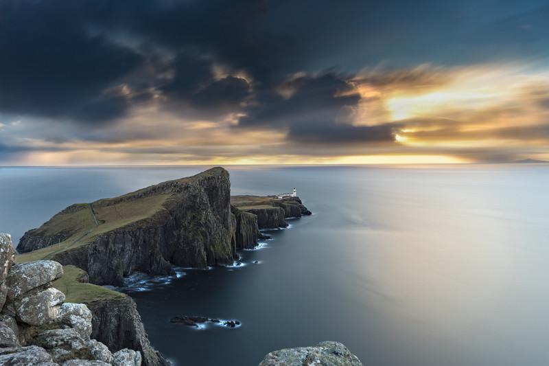 Neist Point Lighthouse, long exposure sunset - Scotland