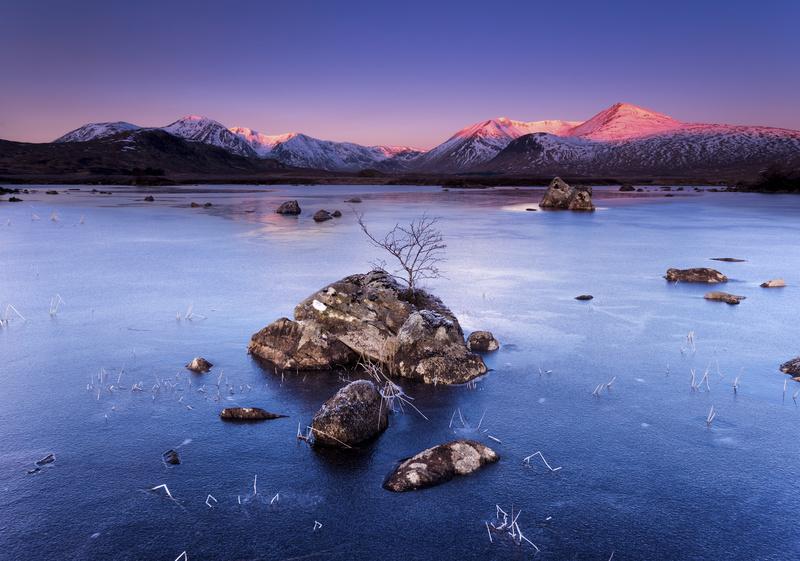 Lochna na Stainge, frozen Loch - Scotland
