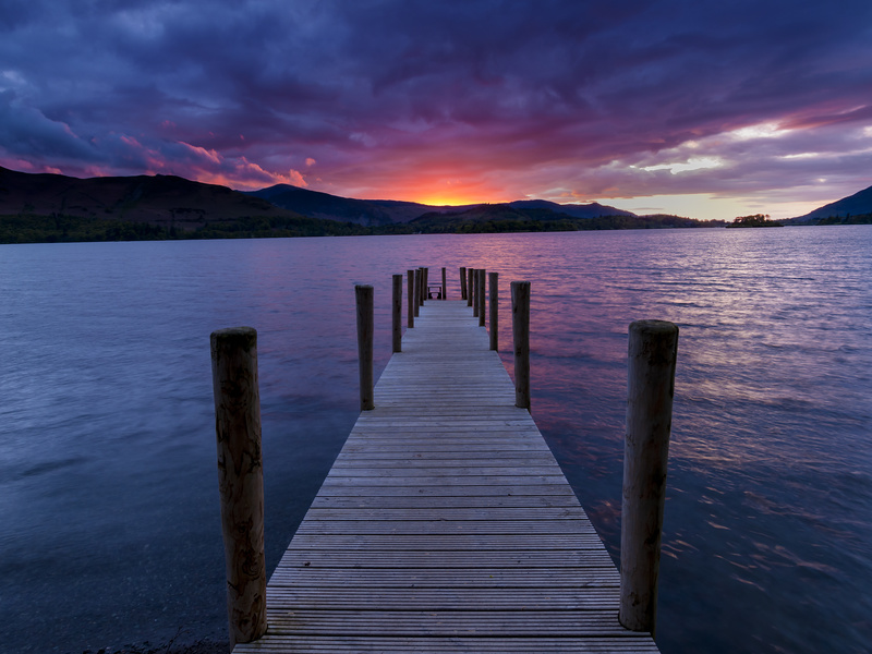 Jetty sunset, Derwent water, Lake District. - Lake District & Cumbria