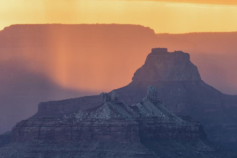 Grand Canyon back-lit rain - North America