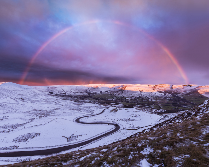 Winter rainbow at sunrise - Peak District & surrounding area