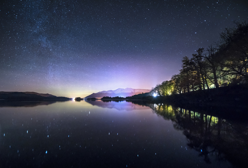 The Milky Way, Aurora Borealis, Autumn trees and snow capped mounatins - Astrophotography