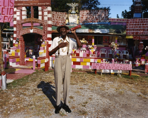 Reverend HD Dennis with Ear Trumpet, Mississippi, #1, 2005 - The True Gospel Preached Here