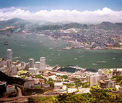 KM-115 Over the Peak & Harbour from the air - 1977