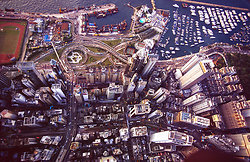 KM-70 Causeway bay & Cross harbour tunnel from air - 1990