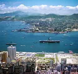KM-192 Wan Chai reclamation & Kowloon  from air - 1974