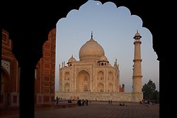 The Taj Mahal, Agra with moon
