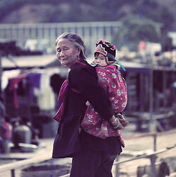 KM-230 Old lady & baby in Tai Po - 1972