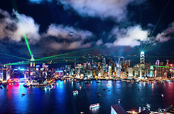 KM-324M Hong Kong Island at night with lasers from Hanoi Road