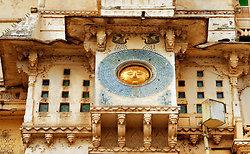Sun God in the City Palace facade, Udaipur