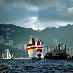 KM-246 yacht racing in harbour - 1984