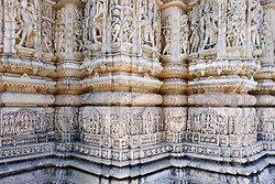 Wall of carvings - Nagda Temple near Udaipur