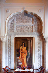 Portrait of Maharani Gayatri Devi in the Rambagh Palace Jaipur