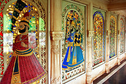 Glass  & marble wall in the City Palace, Udaipur