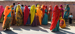 Ladies in Saris at voting station - Chatra Sagar, Rajasthan