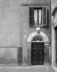 Window with Curtain Above Door, Perugia Italy (5538)