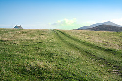 Field and Track With Church, Near Lockskipport Outer Hebrides
